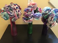 Coffee Filter Flower arrangements for the Senior Center